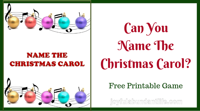 Can You Name The Christmas Carol? Free Printable Christmas Game
