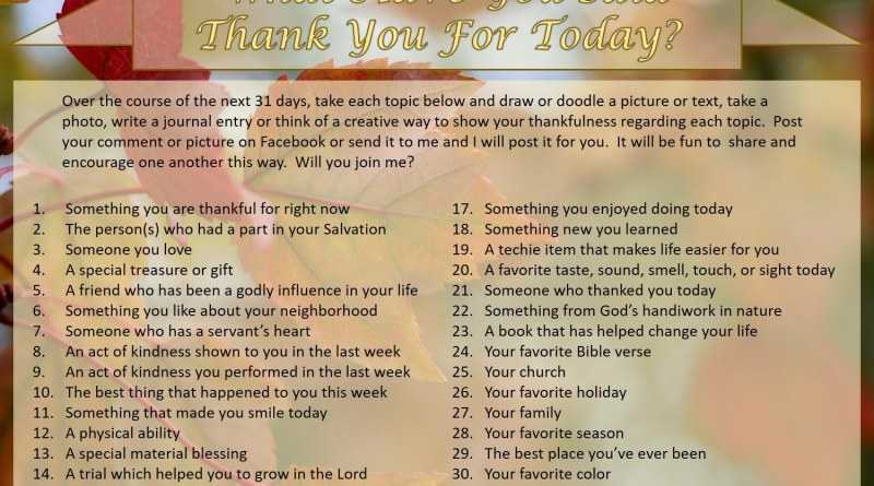 Thankful Challenge - We ought to be thankful every day, but let's challenge ourselves to concentrate on it during Thanksgiving month.