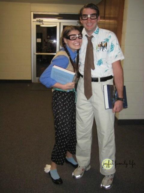 Classic nerd costume. We were newlywed nerds in love.
