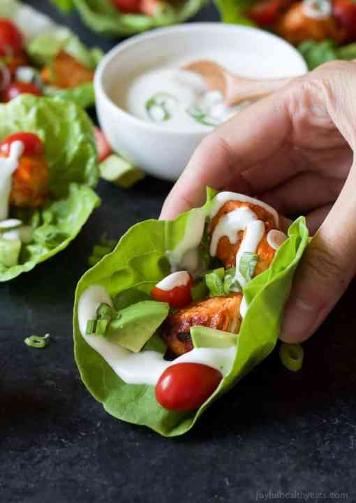 Gluten-Free Grilled Buffalo Chicken Lettuce Wraps