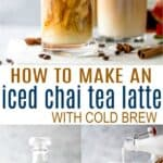 pinterest image for easy iced chai tea latte recipe