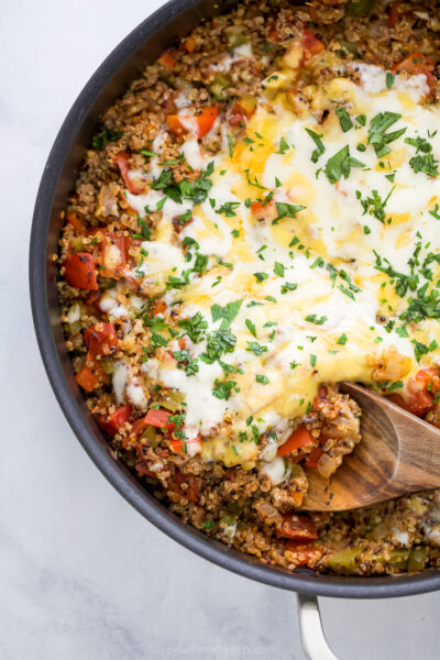 one pan quinoa stuffed pepper recipe in a skillet
