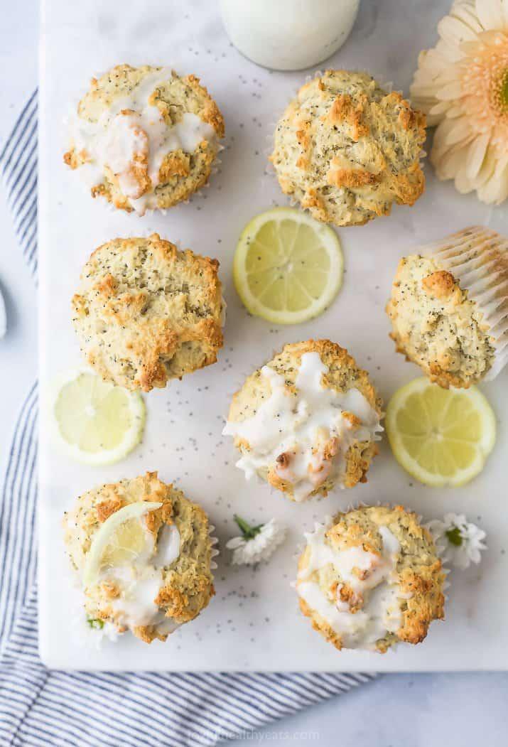 overhead photo of moist gluten free lemon poppyseed muffins