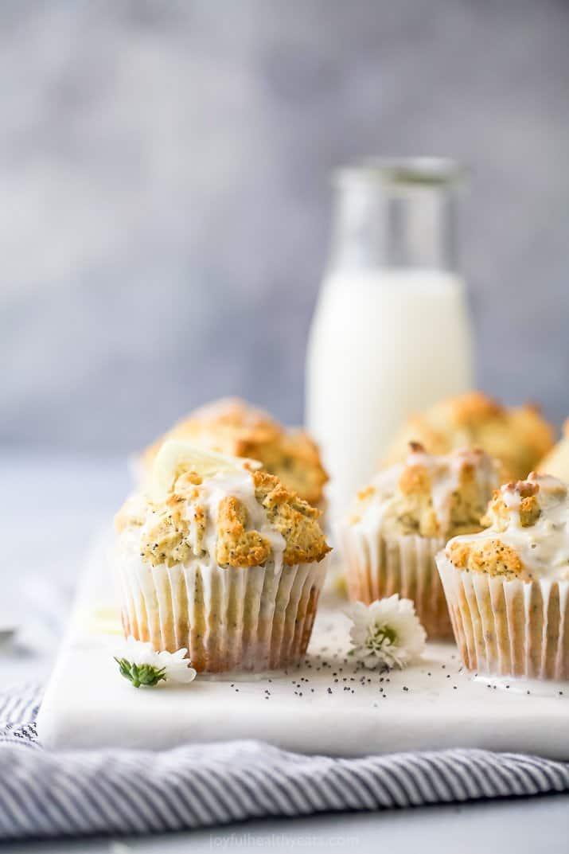 side photo of moist gluten free lemon poppyseed muffins