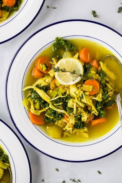 healing chicken soup recipe in a bowl