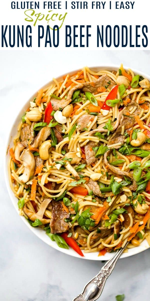 pinterest image for easy kung pao beef noodles