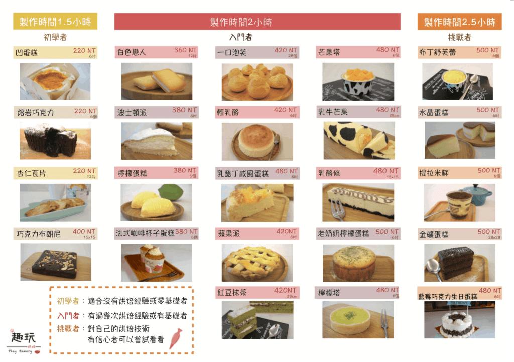 趣玩烘焙菜單