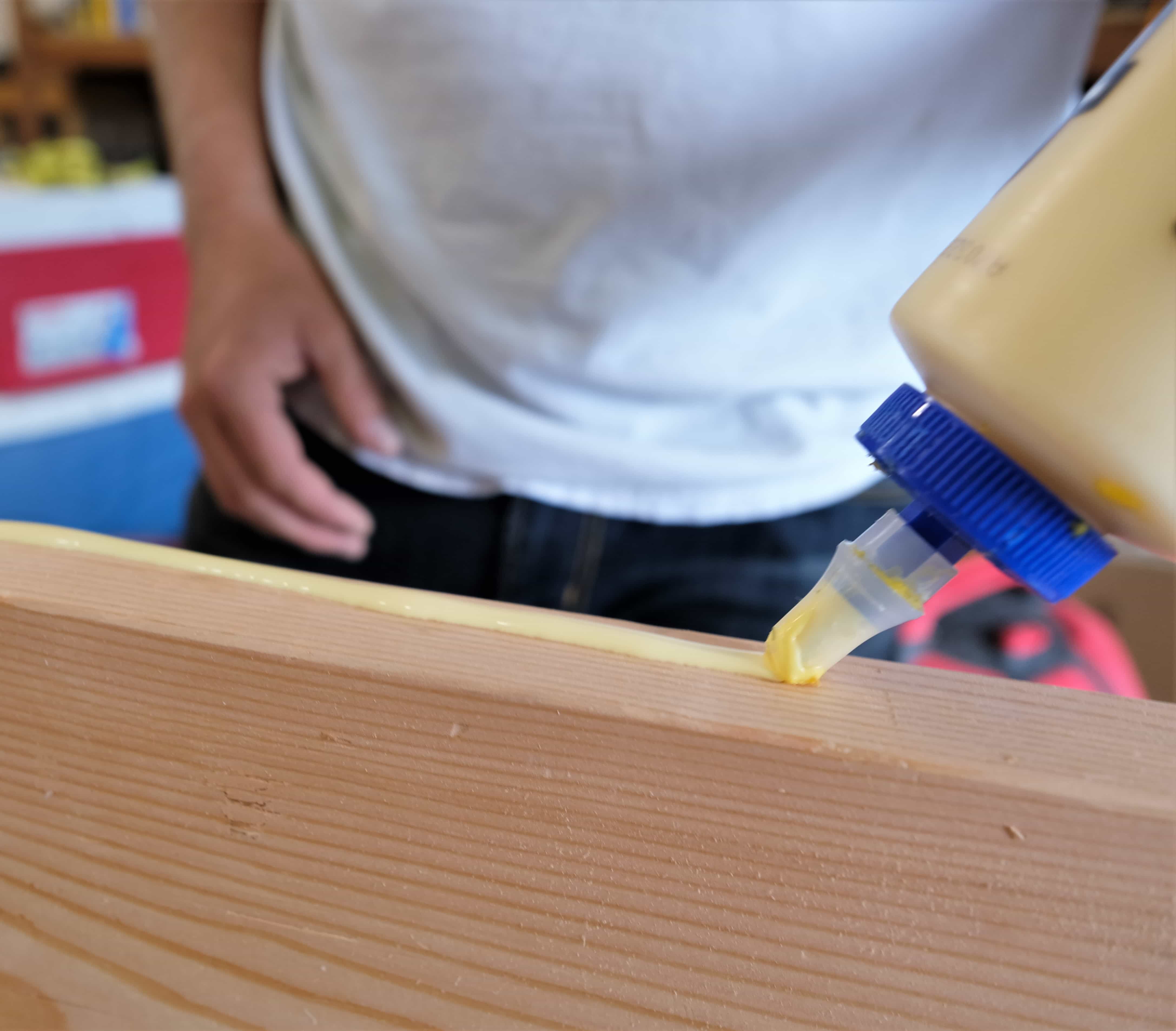 Gluing board to build rustic coffee table