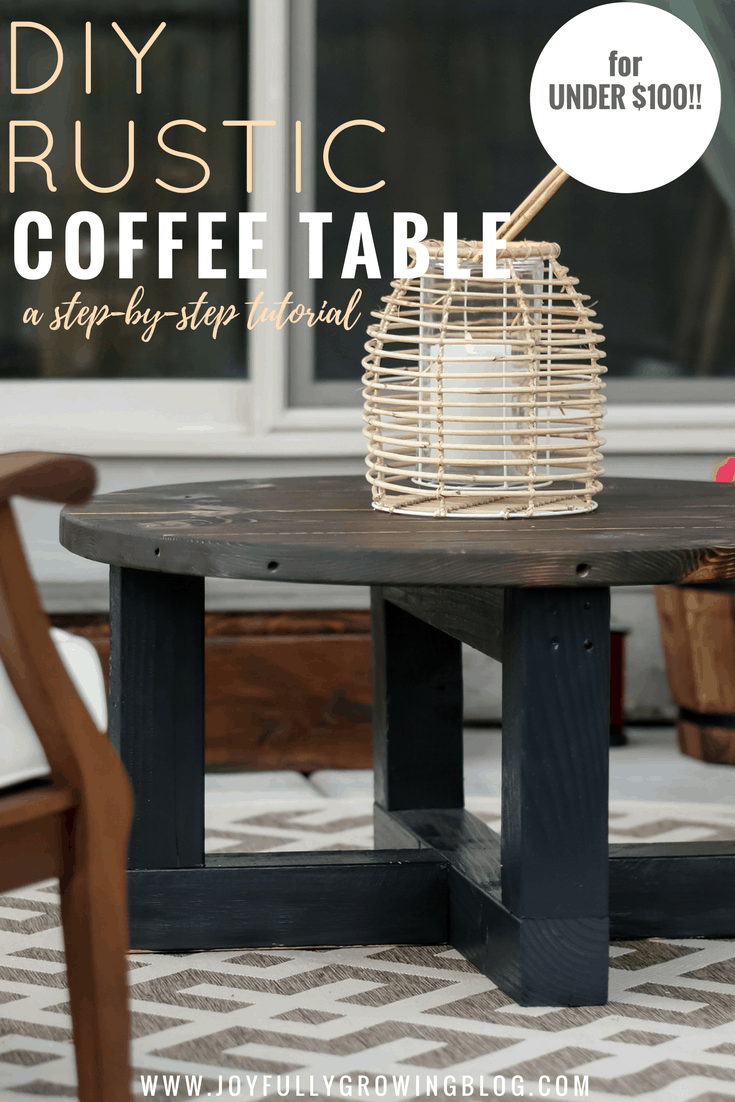 """Rustic Coffee Table On a Budget. Text overlay """"DIY Rustic Coffee Table a step by step tutorial"""""""