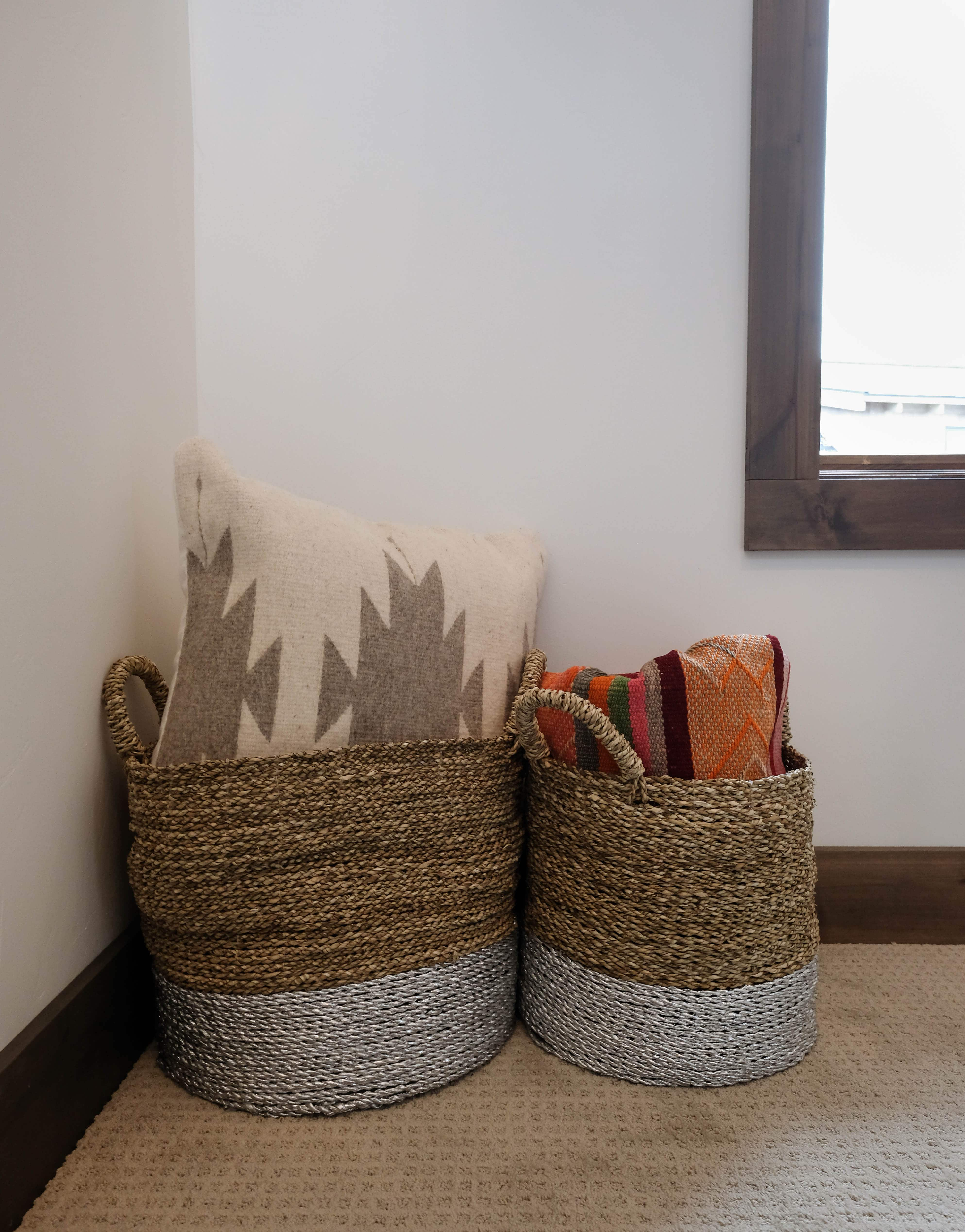 Parade of Homes woven baskets with throw pillows