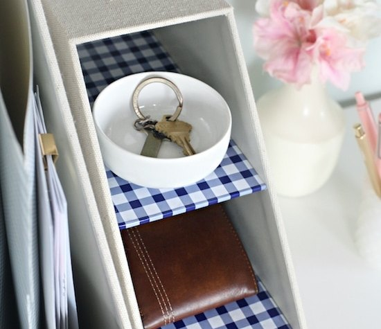 Storage cubbies on desk for small miscellaneous items