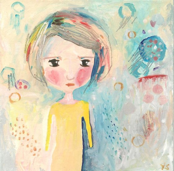 Click Go To Shop - Whimsical Girl Painting, Cute Original Acrylic Painting, Summer Dreamer