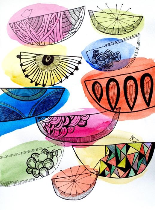 Singing Birds - Print by Ula Phelep