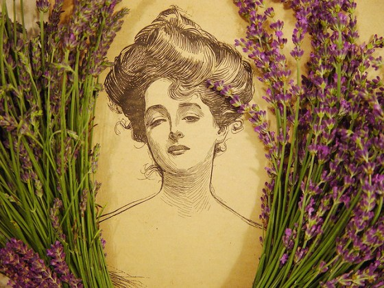 Lavender Woman Vintage Illustration