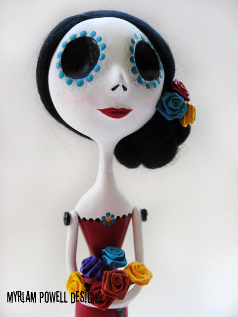 Day of the Dead Doll - Dia de los muertos - Art Doll - Made to Order - Myriam Powell Designs