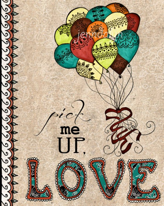 balloon print love poster Pick Me Up 8 x 10 print inspirational typography quote colorful