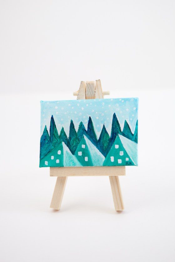 Winter Woodland Pyramid Fantasy Land Green Teal Blue Joyful Miniature Painting Mini Canvas - Original Painting by Kimberly Kling