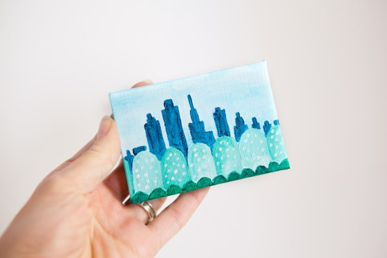 Fantasy City Tiny Small Land Trees Green Teal Blue Joyful Miniature Painting Mini Canvas - Original Painting by Kimberly Kling
