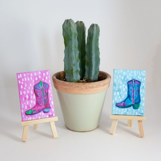 Miniature Canvas, Cowboy Boot, Cowgirl, Pink, Blue, Green, Whimsical, Hand-Painted - Original Mini Painting by Kimberly Kling