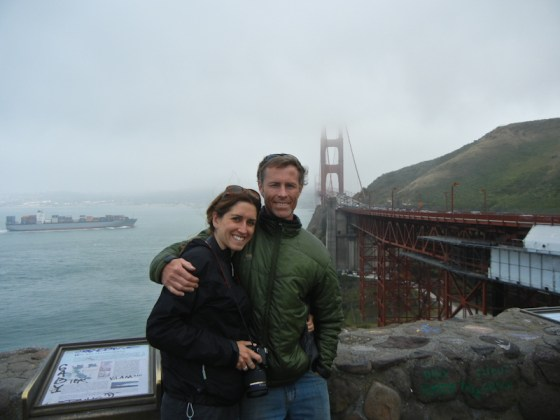 Freezing our patooties at the Golden Gate Bridge.