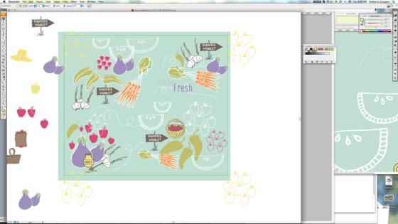 Farmer's Market Pattern Work in Progress Spoonflower Contest