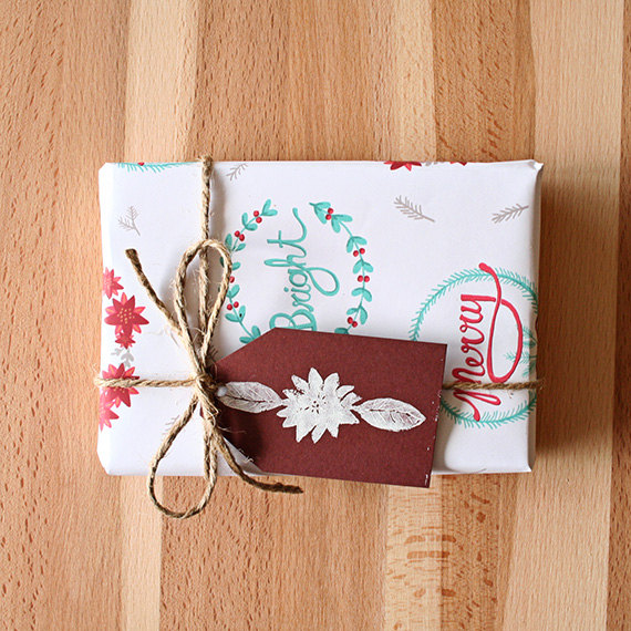 Illustrated Holiday Wrapping Paper and Fabric