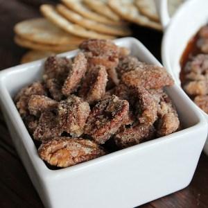 easy sugared pecans recipe and a praline pecan dip