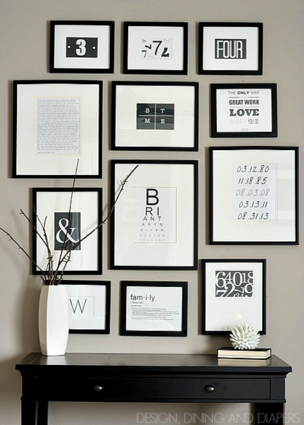 #black and white gallery wall