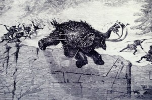 Prehistoric man traveled in clans to hunt game with spears as shown in this photograph of a drawing dated 1874.