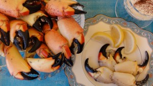 Fresh from Florida Stone Crab Claws with Mustard Sauce.