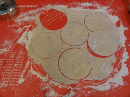 4. On lightly floured surface, roll out pastry to 1⁄8-inch thickness. Use a 3- to 6-inch cookie cutter to cut circles from the dough.