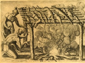 LeMoyne made the first known drawings of Native Americans cooking their meat and fish on a barbacoa.