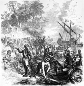 In 1539, Hernando de Soto landed somewhere along Tampa Bay bringing with him priests, women, horses, mules, war dogs and pigs.