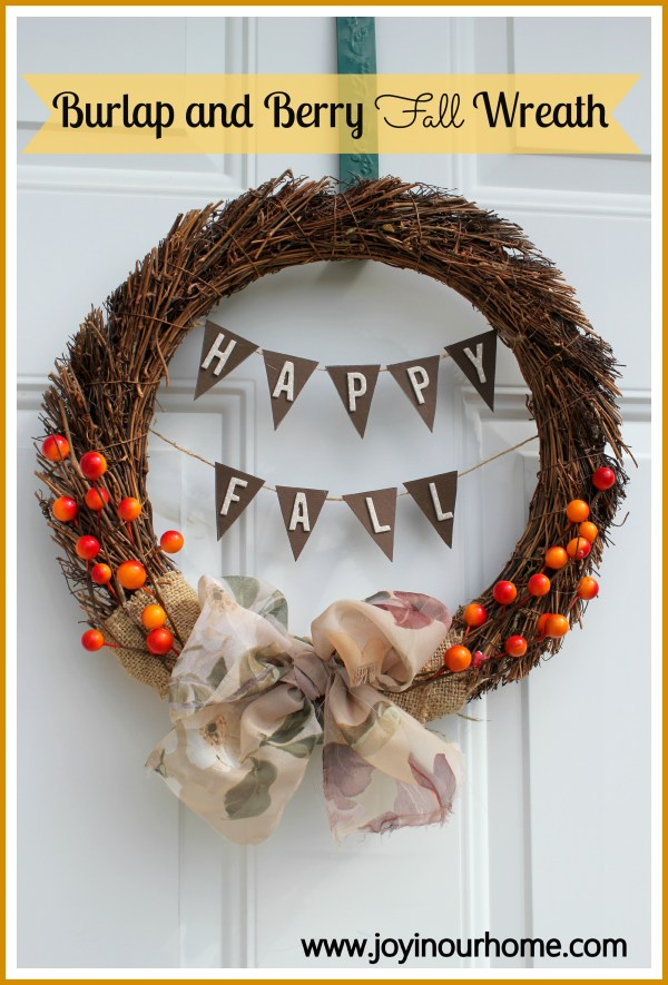 Burlap and Berry Fall Wreath  www.joyinourhome.com