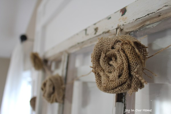 Burlap Rose Garland at www.joyinourhome..com