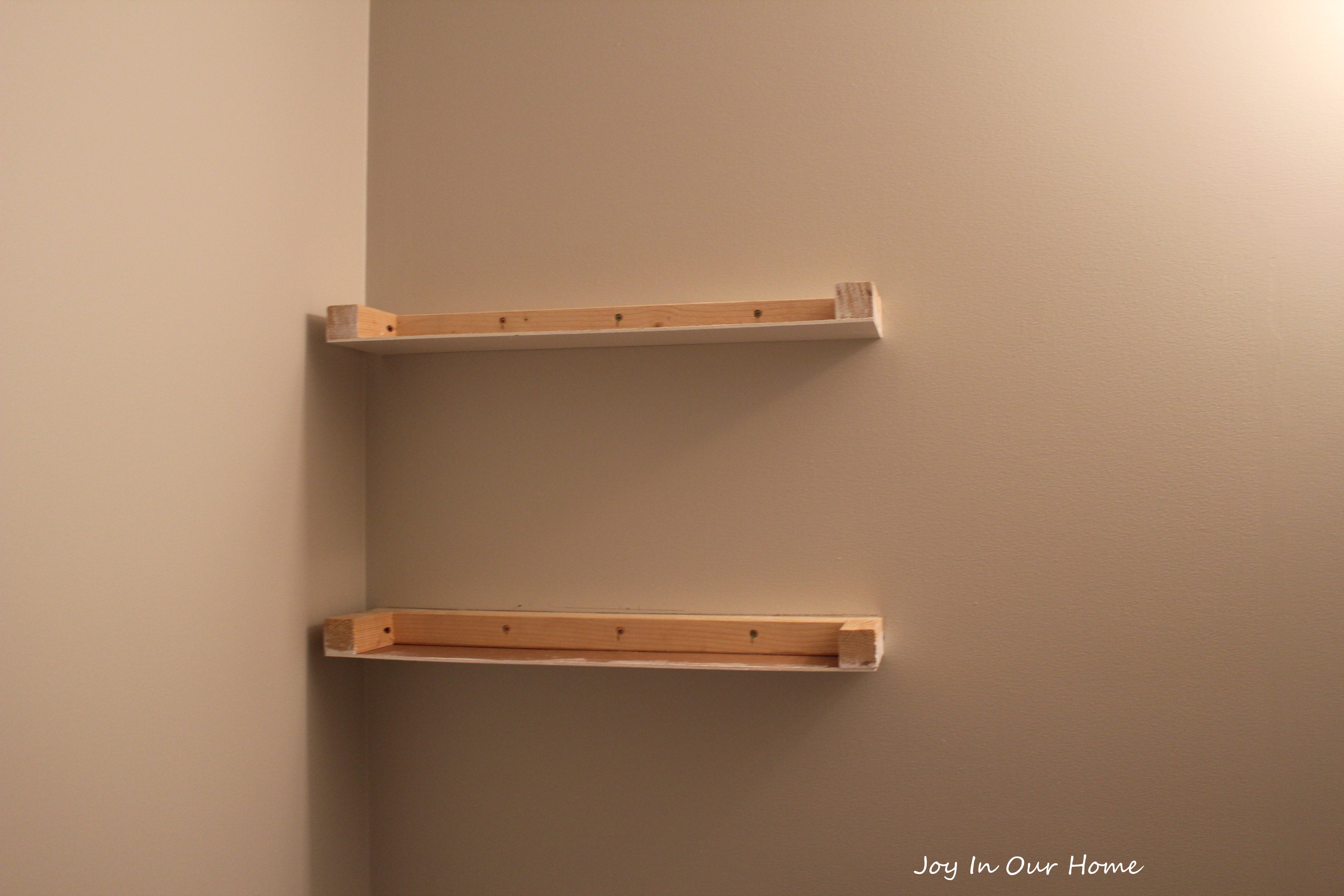 Easy diy floating shelves tutorial joy in our home for Easy diy wall shelf