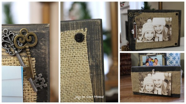 Burlap Photo Frame Display at www.joyinourhome.com