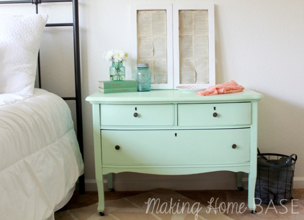 Mint Painted Nightstand from www.makinghomebase.com