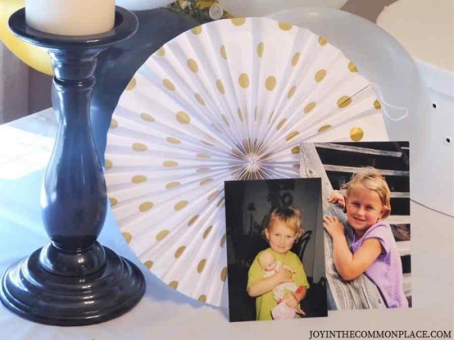 Childhood photos black & gold bridal shower