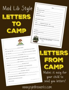 Fill In The Blank Letters To And From Camp Joy In The