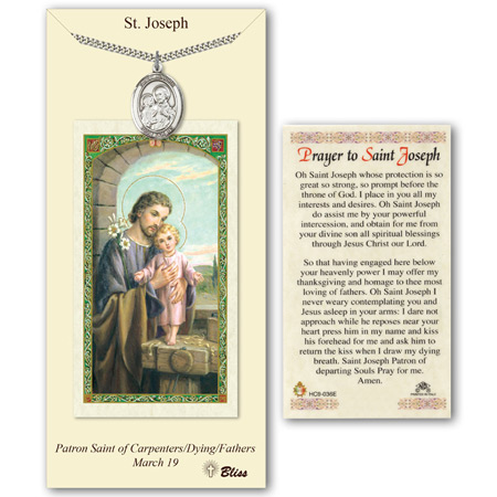 Pewter 1in St Joseph Medal With Prayer Card PC7058PW Joy