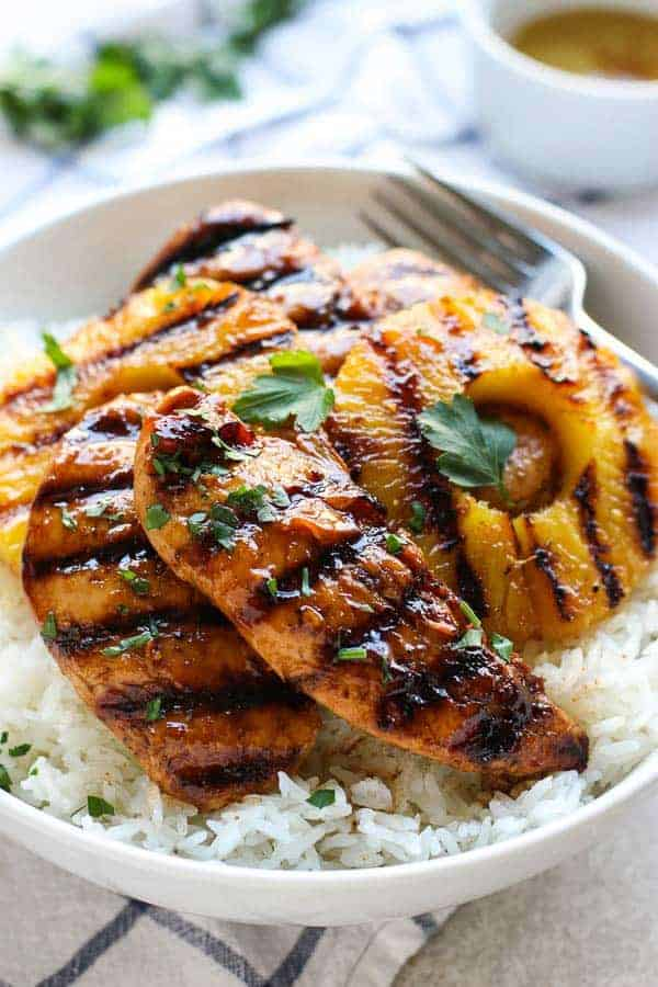 Hawaiian Chicken with Grilled Pineapple and Coconut Rice