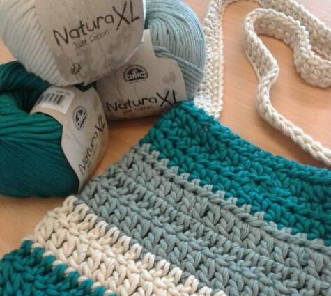 Stripy Crochet Summer Bag DMC Natura XL Just Cotton