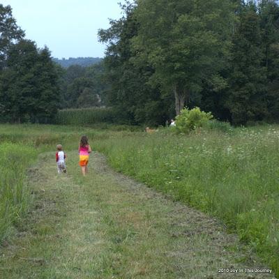 kids walking in a field