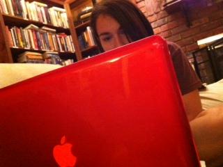 big red laptop