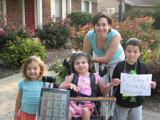 Joy and the kids on the first day of school in 2008