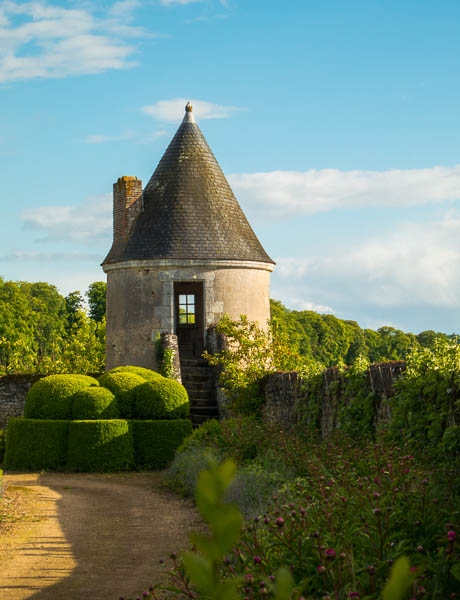 Photo of the tower at the corner of the potager at Chateau de Valmer