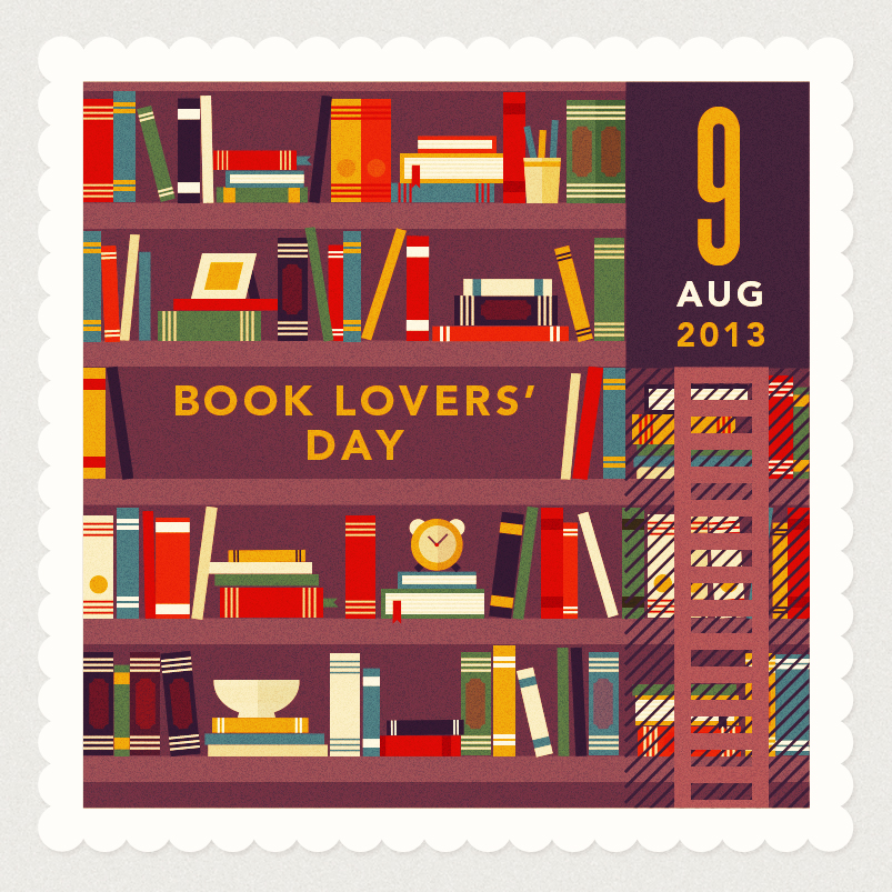 Illustration of book shelves for Book Lovers' Day