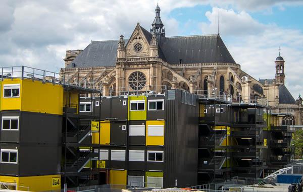 photo of modular housing units at Les Halles, Paris, France