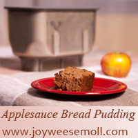 photo of Applesauce Bread Pudding with web address www.joyweesemoll.com